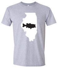 Load image into Gallery viewer, Short Sleeve T-Shirt Illinois Athletic Heather Large Mouth Bass Vibrant Design High Quality Tight Knit Ring Spun Low Maintenance Cotton Printed With The Newest Available Color Transfer Technology