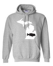Load image into Gallery viewer, Pullover Hooded Sweatshirt Michigan Athletic Heather Large Mouth Bass Vibrant Design High Quality Tight Knit Ring Spun Low Maintenance Cotton Printed With The Newest Available Color Transfer Technology