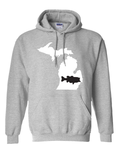 Pullover Hooded Sweatshirt Michigan Athletic Heather Large Mouth Bass Vibrant Design High Quality Tight Knit Ring Spun Low Maintenance Cotton Printed With The Newest Available Color Transfer Technology
