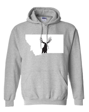 Load image into Gallery viewer, Pullover Hooded Sweatshirt Montana Athletic Heather Mule Deer Vibrant Design High Quality Tight Knit Ring Spun Low Maintenance Cotton Printed With The Newest Available Color Transfer Technology