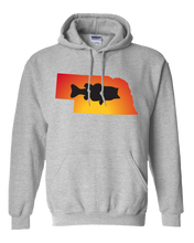 Load image into Gallery viewer, Pullover Hooded Sweatshirt Nebraska Athletic Heather Large Mouth Bass Vibrant Design High Quality Tight Knit Ring Spun Low Maintenance Cotton Printed With The Newest Available Color Transfer Technology