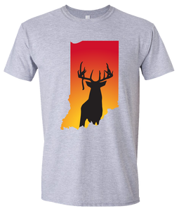 Short Sleeve T-Shirt Indiana Athletic Heather Whitetail Deer Vibrant Design High Quality Tight Knit Ring Spun Low Maintenance Cotton Printed With The Newest Available Color Transfer Technology