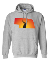 Load image into Gallery viewer, Pullover Hooded Sweatshirt Nebraska Athletic Heather Mule Deer Vibrant Design High Quality Tight Knit Ring Spun Low Maintenance Cotton Printed With The Newest Available Color Transfer Technology