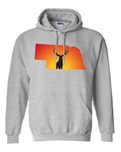 Pullover Hooded Sweatshirt Nebraska Athletic Heather Mule Deer Vibrant Design High Quality Tight Knit Ring Spun Low Maintenance Cotton Printed With The Newest Available Color Transfer Technology