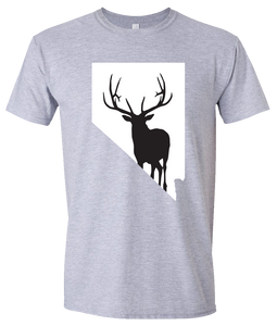 Short Sleeve T-Shirt Nevada Athletic Heather Elk Vibrant Design High Quality Tight Knit Ring Spun Low Maintenance Cotton Printed With The Newest Available Color Transfer Technology