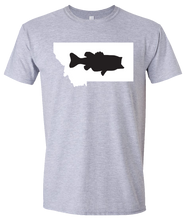 Load image into Gallery viewer, Short Sleeve T-Shirt Montana Athletic Heather Large Mouth Bass Vibrant Design High Quality Tight Knit Ring Spun Low Maintenance Cotton Printed With The Newest Available Color Transfer Technology