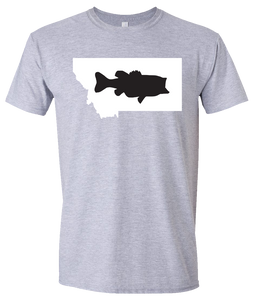 Short Sleeve T-Shirt Montana Athletic Heather Large Mouth Bass Vibrant Design High Quality Tight Knit Ring Spun Low Maintenance Cotton Printed With The Newest Available Color Transfer Technology