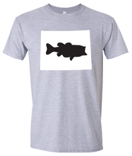 Load image into Gallery viewer, Short Sleeve T-Shirt Wyoming Athletic Heather Large Mouth Bass Vibrant Design High Quality Tight Knit Ring Spun Low Maintenance Cotton Printed With The Newest Available Color Transfer Technology