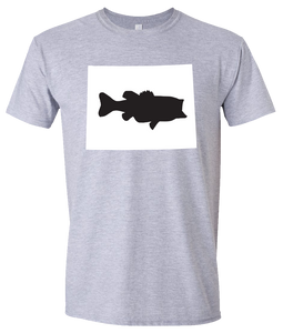 Short Sleeve T-Shirt Wyoming Athletic Heather Large Mouth Bass Vibrant Design High Quality Tight Knit Ring Spun Low Maintenance Cotton Printed With The Newest Available Color Transfer Technology