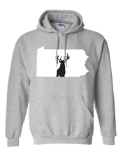Load image into Gallery viewer, Pullover Hooded Sweatshirt Pennsylvania Athletic Heather Whitetail Deer Vibrant Design High Quality Tight Knit Ring Spun Low Maintenance Cotton Printed With The Newest Available Color Transfer Technology