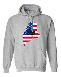 Pullover Hooded Sweatshirt Maine Athletic Heather Turkey Vibrant Design High Quality Tight Knit Ring Spun Low Maintenance Cotton Printed With The Newest Available Color Transfer Technology