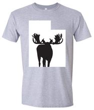 Load image into Gallery viewer, Short Sleeve T-Shirt Utah Athletic Heather Moose Vibrant Design High Quality Tight Knit Ring Spun Low Maintenance Cotton Printed With The Newest Available Color Transfer Technology