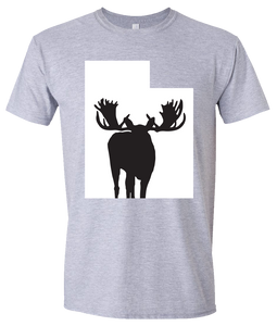 Short Sleeve T-Shirt Utah Athletic Heather Moose Vibrant Design High Quality Tight Knit Ring Spun Low Maintenance Cotton Printed With The Newest Available Color Transfer Technology
