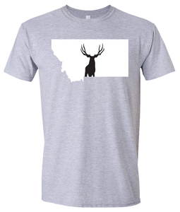 Short Sleeve T-Shirt Montana Athletic Heather Mule Deer Vibrant Design High Quality Tight Knit Ring Spun Low Maintenance Cotton Printed With The Newest Available Color Transfer Technology
