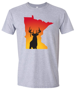Short Sleeve T-Shirt Minnesota Athletic Heather Whitetail Deer Vibrant Design High Quality Tight Knit Ring Spun Low Maintenance Cotton Printed With The Newest Available Color Transfer Technology