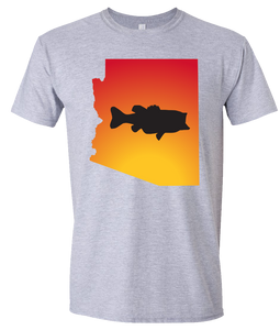 Short Sleeve T-Shirt Arizona Athletic Heather Large Mouth Bass Vibrant Design High Quality Tight Knit Ring Spun Low Maintenance Cotton Printed With The Newest Available Color Transfer Technology