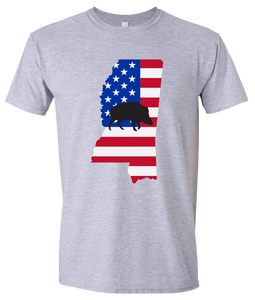 Short Sleeve T-Shirt Mississippi Athletic Heather Wild Hog Vibrant Design High Quality Tight Knit Ring Spun Low Maintenance Cotton Printed With The Newest Available Color Transfer Technology