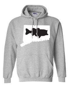 Pullover Hooded Sweatshirt Connecticut Athletic Heather Large Mouth Bass Vibrant Design High Quality Tight Knit Ring Spun Low Maintenance Cotton Printed With The Newest Available Color Transfer Technology