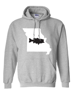 Pullover Hooded Sweatshirt Missouri Athletic Heather Large Mouth Bass Vibrant Design High Quality Tight Knit Ring Spun Low Maintenance Cotton Printed With The Newest Available Color Transfer Technology