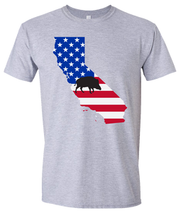 Short Sleeve T-Shirt California Athletic Heather Wild Hog Vibrant Design High Quality Tight Knit Ring Spun Low Maintenance Cotton Printed With The Newest Available Color Transfer Technology