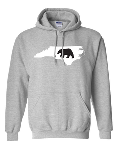 Pullover Hooded Sweatshirt North Carolina Athletic Heather Black Bear Vibrant Design High Quality Tight Knit Ring Spun Low Maintenance Cotton Printed With The Newest Available Color Transfer Technology