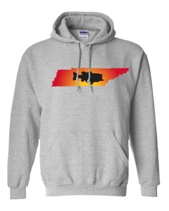 Pullover Hooded Sweatshirt Tennessee Athletic Heather Large Mouth Bass Vibrant Design High Quality Tight Knit Ring Spun Low Maintenance Cotton Printed With The Newest Available Color Transfer Technology