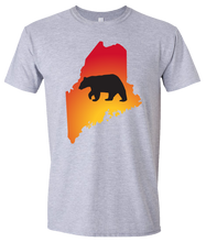 Load image into Gallery viewer, Short Sleeve T-Shirt Maine Athletic Heather Black Bear Vibrant Design High Quality Tight Knit Ring Spun Low Maintenance Cotton Printed With The Newest Available Color Transfer Technology