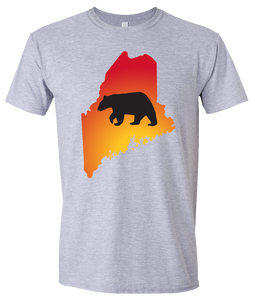 Short Sleeve T-Shirt Maine Athletic Heather Black Bear Vibrant Design High Quality Tight Knit Ring Spun Low Maintenance Cotton Printed With The Newest Available Color Transfer Technology