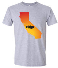 Load image into Gallery viewer, Short Sleeve T-Shirt California Athletic Heather Large Mouth Bass Vibrant Design High Quality Tight Knit Ring Spun Low Maintenance Cotton Printed With The Newest Available Color Transfer Technology