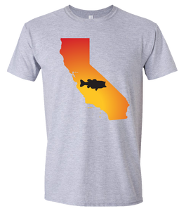Short Sleeve T-Shirt California Athletic Heather Large Mouth Bass Vibrant Design High Quality Tight Knit Ring Spun Low Maintenance Cotton Printed With The Newest Available Color Transfer Technology