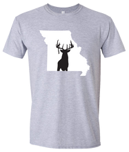 Load image into Gallery viewer, Short Sleeve T-Shirt Missouri Athletic Heather Whitetail Deer Vibrant Design High Quality Tight Knit Ring Spun Low Maintenance Cotton Printed With The Newest Available Color Transfer Technology