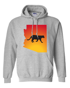 Pullover Hooded Sweatshirt Arizona Athletic Heather Mountain Lion Vibrant Design High Quality Tight Knit Ring Spun Low Maintenance Cotton Printed With The Newest Available Color Transfer Technology