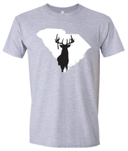 Load image into Gallery viewer, Short Sleeve T-Shirt South Carolina Athletic Heather Whitetail Deer Vibrant Design High Quality Tight Knit Ring Spun Low Maintenance Cotton Printed With The Newest Available Color Transfer Technology