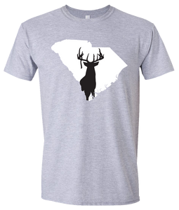 Short Sleeve T-Shirt South Carolina Athletic Heather Whitetail Deer Vibrant Design High Quality Tight Knit Ring Spun Low Maintenance Cotton Printed With The Newest Available Color Transfer Technology