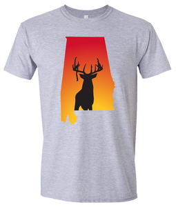 Short Sleeve T-Shirt Alabama Athletic Heather Whitetail Deer Vibrant Design High Quality Tight Knit Ring Spun Low Maintenance Cotton Printed With The Newest Available Color Transfer Technology