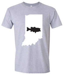 Short Sleeve T-Shirt Indiana Athletic Heather Large Mouth Bass Vibrant Design High Quality Tight Knit Ring Spun Low Maintenance Cotton Printed With The Newest Available Color Transfer Technology