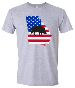 Short Sleeve T-Shirt Georgia Athletic Heather Wild Hog Vibrant Design High Quality Tight Knit Ring Spun Low Maintenance Cotton Printed With The Newest Available Color Transfer Technology