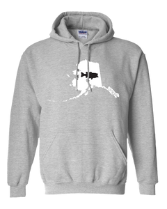 Pullover Hooded Sweatshirt Alaska Athletic Heather Large Mouth Bass Vibrant Design High Quality Tight Knit Ring Spun Low Maintenance Cotton Printed With The Newest Available Color Transfer Technology