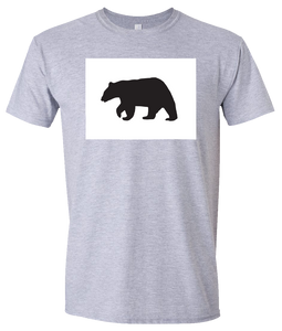 Short Sleeve T-Shirt Colorado Athletic Heather Black Bear Vibrant Design High Quality Tight Knit Ring Spun Low Maintenance Cotton Printed With The Newest Available Color Transfer Technology
