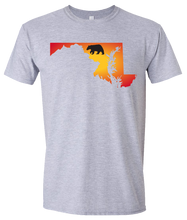Load image into Gallery viewer, Short Sleeve T-Shirt Maryland Athletic Heather Black Bear Vibrant Design High Quality Tight Knit Ring Spun Low Maintenance Cotton Printed With The Newest Available Color Transfer Technology