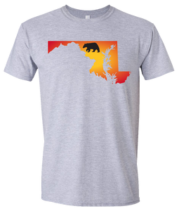 Short Sleeve T-Shirt Maryland Athletic Heather Black Bear Vibrant Design High Quality Tight Knit Ring Spun Low Maintenance Cotton Printed With The Newest Available Color Transfer Technology