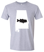 Load image into Gallery viewer, Short Sleeve T-Shirt Alabama Athletic Heather Large Mouth Bass Vibrant Design High Quality Tight Knit Ring Spun Low Maintenance Cotton Printed With The Newest Available Color Transfer Technology