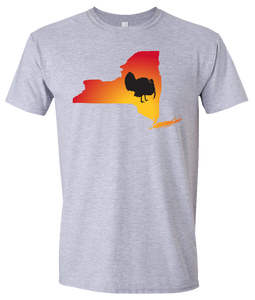 Short Sleeve T-Shirt New York Athletic Heather Turkey Vibrant Design High Quality Tight Knit Ring Spun Low Maintenance Cotton Printed With The Newest Available Color Transfer Technology