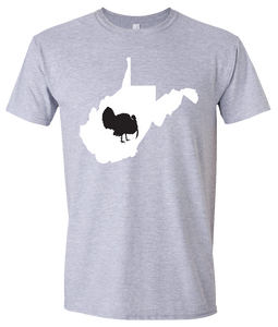 Short Sleeve T-Shirt West Virginia Athletic Heather Turkey Vibrant Design High Quality Tight Knit Ring Spun Low Maintenance Cotton Printed With The Newest Available Color Transfer Technology