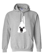 Load image into Gallery viewer, Pullover Hooded Sweatshirt New Hampshire Athletic Heather Moose Vibrant Design High Quality Tight Knit Ring Spun Low Maintenance Cotton Printed With The Newest Available Color Transfer Technology