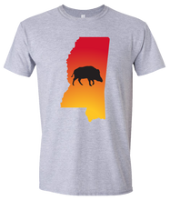 Load image into Gallery viewer, Short Sleeve T-Shirt Mississippi Athletic Heather Wild Hog Vibrant Design High Quality Tight Knit Ring Spun Low Maintenance Cotton Printed With The Newest Available Color Transfer Technology