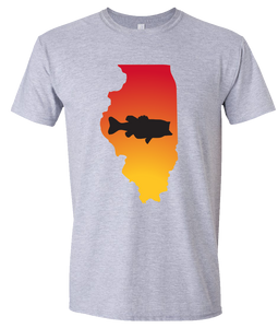 Short Sleeve T-Shirt Illinois Athletic Heather Large Mouth Bass Vibrant Design High Quality Tight Knit Ring Spun Low Maintenance Cotton Printed With The Newest Available Color Transfer Technology