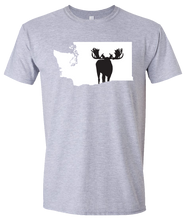 Load image into Gallery viewer, Short Sleeve T-Shirt Washington Athletic Heather Moose Vibrant Design High Quality Tight Knit Ring Spun Low Maintenance Cotton Printed With The Newest Available Color Transfer Technology