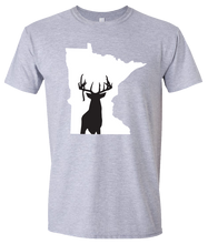 Load image into Gallery viewer, Short Sleeve T-Shirt Minnesota Athletic Heather Whitetail Deer Vibrant Design High Quality Tight Knit Ring Spun Low Maintenance Cotton Printed With The Newest Available Color Transfer Technology