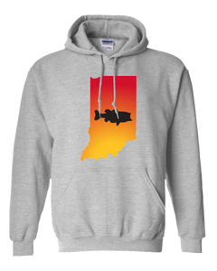 Pullover Hooded Sweatshirt Indiana Athletic Heather Large Mouth Bass Vibrant Design High Quality Tight Knit Ring Spun Low Maintenance Cotton Printed With The Newest Available Color Transfer Technology